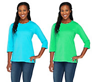 As Is Quacker Factory Set of Two Sequin Sparkle 3/4 Sleeve T-shirts - A278129