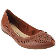 As Is Isaac Mizrahi Live! Perforated Leather Pointed Flats - A278629