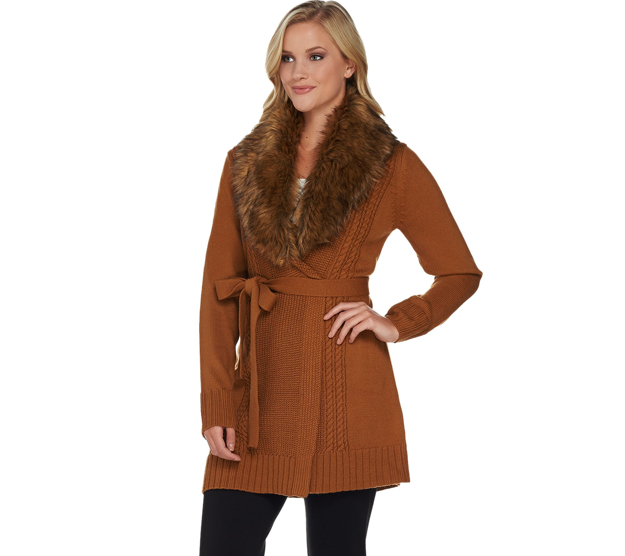 Dennis Basso Mix Stitch Belted Cardigan with Faux Fur Collar ...