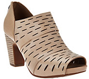 As Is Clarks Artisan Leather Perforated Booties - Okena Sass - A283629