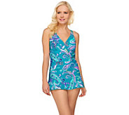 As Is Ocean Dream Signature Island Paisley X-Back Swim Dress - A286029