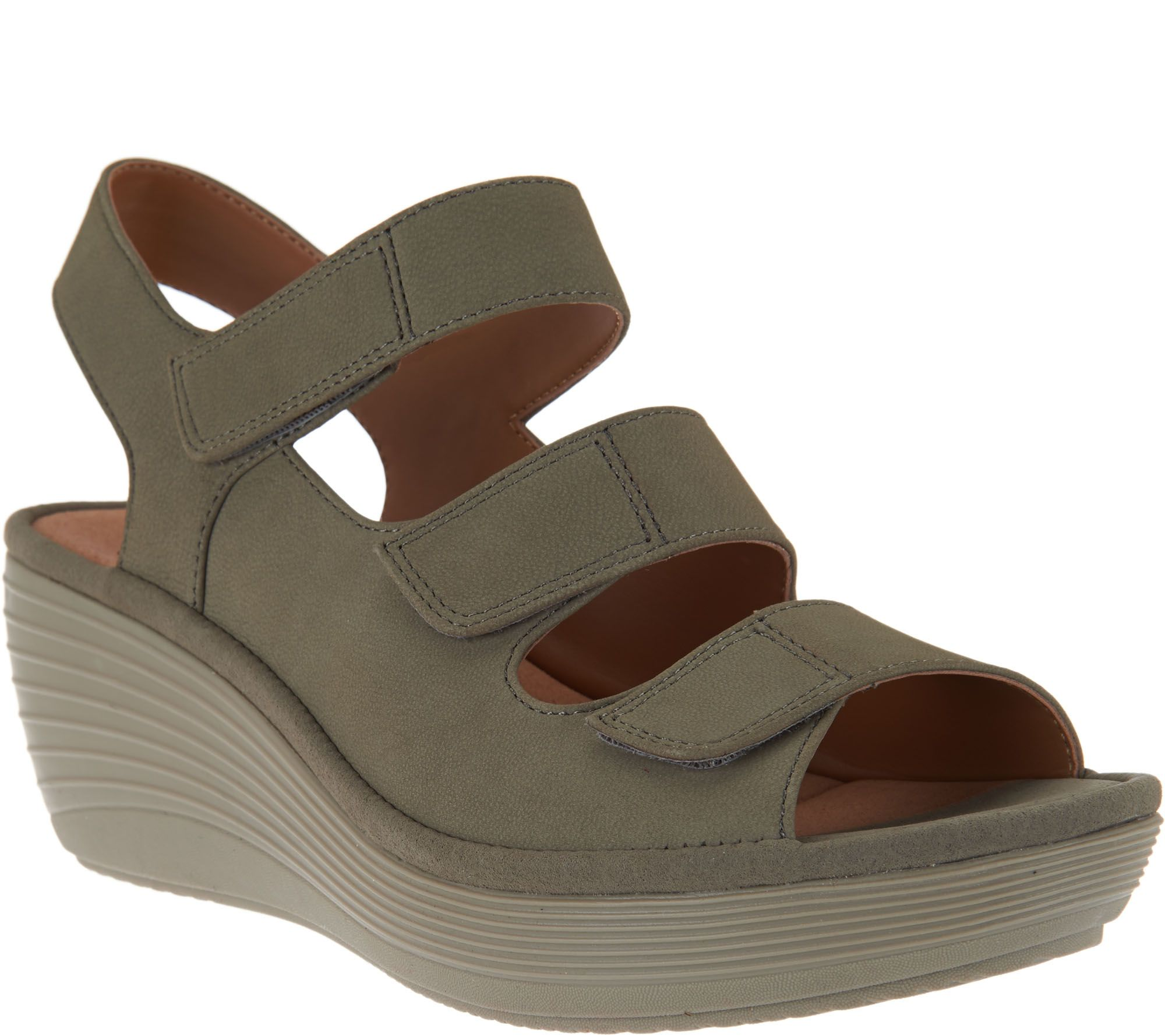 Clarks Nubuck Triple Strap Wedge Sandals - Reedly Juno - Page 1 — QVC.com