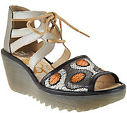 FLY London Leather & Raffia Lace-up Wedges - Yafi - A289729