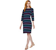 Denim & Co. Perfect Jersey Boat Neck 3/4 Sleeve Striped Dress - A290129