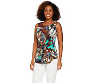 Attitudes by Renee Printed Tie-Front Knit Tank Top - A290729