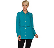 Susan Graver Petite Stretch Woven Button Front Shirt - A294029