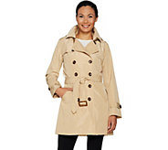 Joan Rivers Water Resistant Trench Coat w/ Removable Hood - A295129