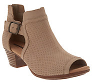 Clarks Leather Perforated Open Toe Sandals - Valarie Kimble - A303029