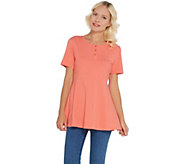 Denim & Co. Essentials Round Neck Fit and Flare Henley Knit Top - A307529