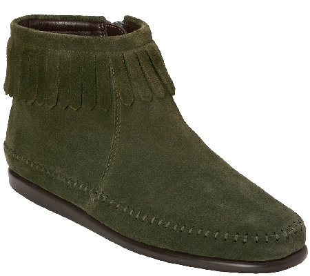 aerosoles stitch n turn suede moccasin boots w fringe