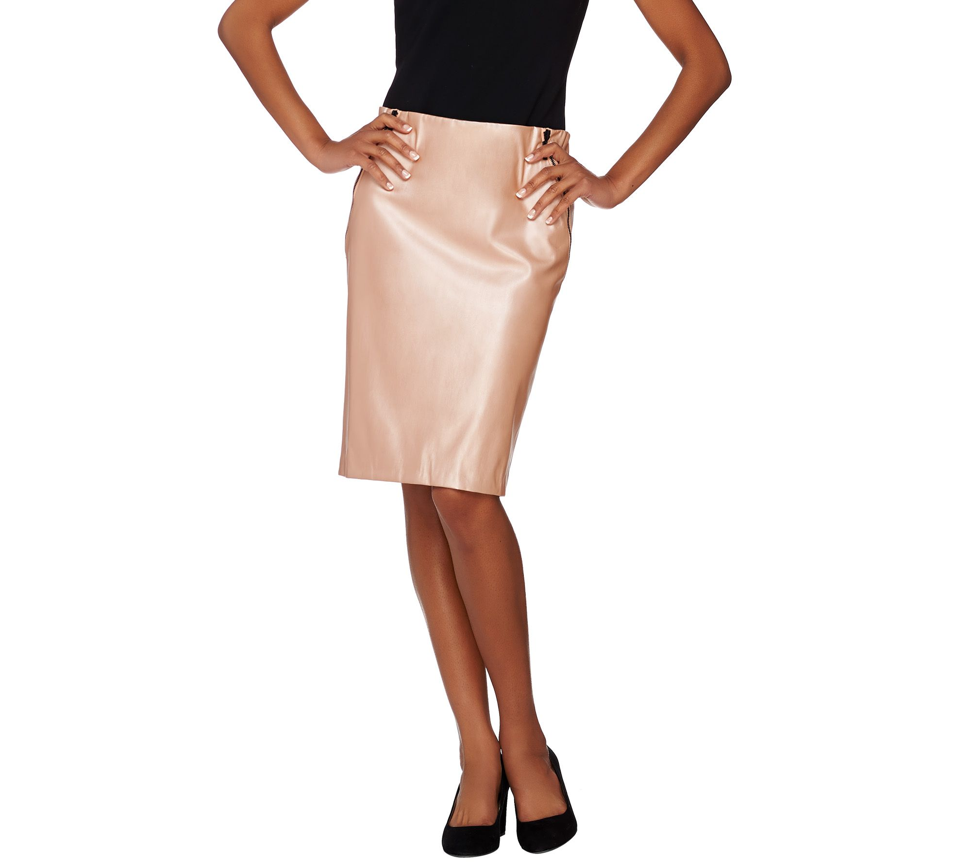 G.I.L.I Faux Leather Pencil Skirt w/ Zipper Detail