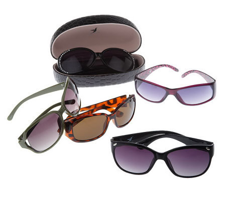 Set of 5 Fashion Sunglasses with Storage Cases by Hummingbird