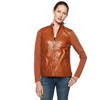 Liz Claiborne New York Basketweave Faux Leather and Knit Jacket
