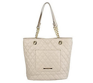 Isaac Mizrahi Live! Quilted Leather Tote with Chain Detail