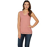 Denim & Co. Essentials Lace Trim V-Neck Ribbed Tank - A219330
