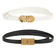 Keggy Set of 2 Belts w/Antique Gold Circle and Studded Charms - A221730