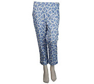 Bob Mackies Giraffe Print Pique Cropped Pants w/Side Zip - A222230
