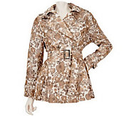 M by Marc Bouwer Abstract Print Trench Coat with Belt - A223630