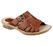 Earth Willow Distressed Leather Slide Sandals - A231630