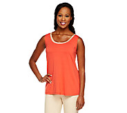 Susan Graver Rayon/Spandex Scoop Neck Tank Top with Contrast Trim - A251330