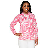 Bob Mackies Geometric Print Long Sleeve Shirt Collar Stripe Shirt - A252330