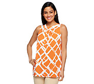 Susan Graver Liquid Knit Bateau Neck Printed Tank w/ Pleat Detail - A253030