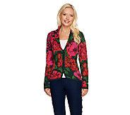 Isaac Mizrahi Live! Jacquard Floral Sweater Blazer - A255830