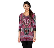 Attitudes By Renee 3/4 Sleeve Medallion Printed Top - A261830