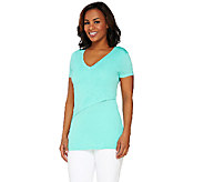 Lisa Rinna Collection Short Sleeve Front Layered Knit Top - A263130