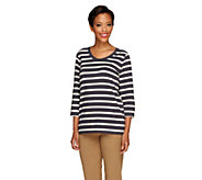 As Is Denim & Co. Essentials Perfect Jersey Striped Top - A264030