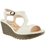 FLY London Open-toe Wedge Sandals w/ Adj. Ankle Strap - Yanca - A266430
