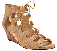Sole Society Suede Lace-up Wedge Sandals - Freyaa - A268430