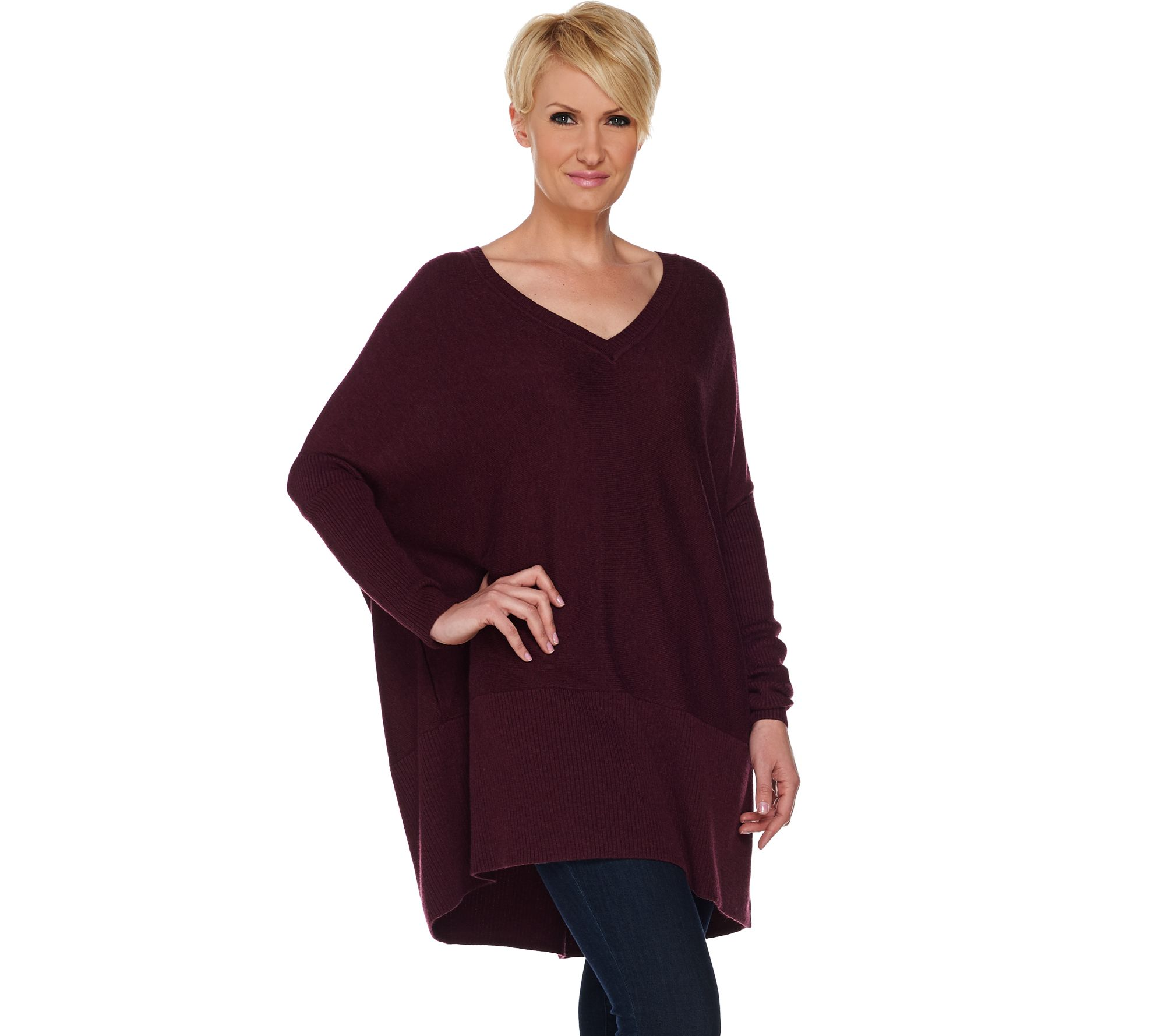 H by Halston Boyfriend V-neck Long Sleeve Pullover Sweater - Page ...