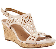 As Is Clarks Artisan Leather Cut-out Wedges Palmdale Sands - A270930