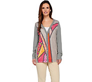 Bob Mackies Button Front Printed Sweater Knit Cardigan - A273530
