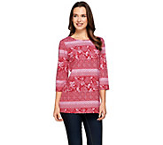 Denim & Co. Printed 3/4 Sleeve Round Neck Tunic with Side Slits - A274330