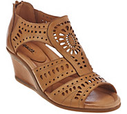 Earth Leather Wedge Sandals with Perforated Details - Crown - A275130