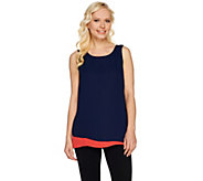 Susan Graver Feather Weave Colorblock Sleeveless Layered Top - A276430