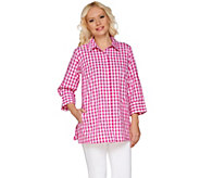 As Is Joan Rivers Gingham Boyfriend Shirt with 3/4 Sleeves - A282630
