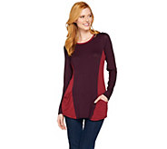 LOGO by Lori Goldstein Knit Top with Color-Block Details - A283030