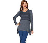 LOGO by Lori Goldstein Waffle and Rib Knit Top with Lace Godets - A285330