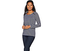 Susan Graver Weekend Striped Stretch Cotton Modal Top with Zipper Trim - A285430