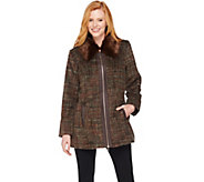 Dennis Basso Zip Front Tweed Coat with Faux Fur Collar - A286130