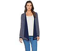 Susan Graver Reversible Liquid Knit Long Sleeve Cardigan - A286730