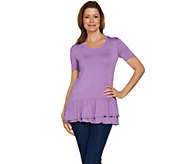 LOGO by Lori Goldstein Short Sleeve Heathered Top with Ruffles - A288030
