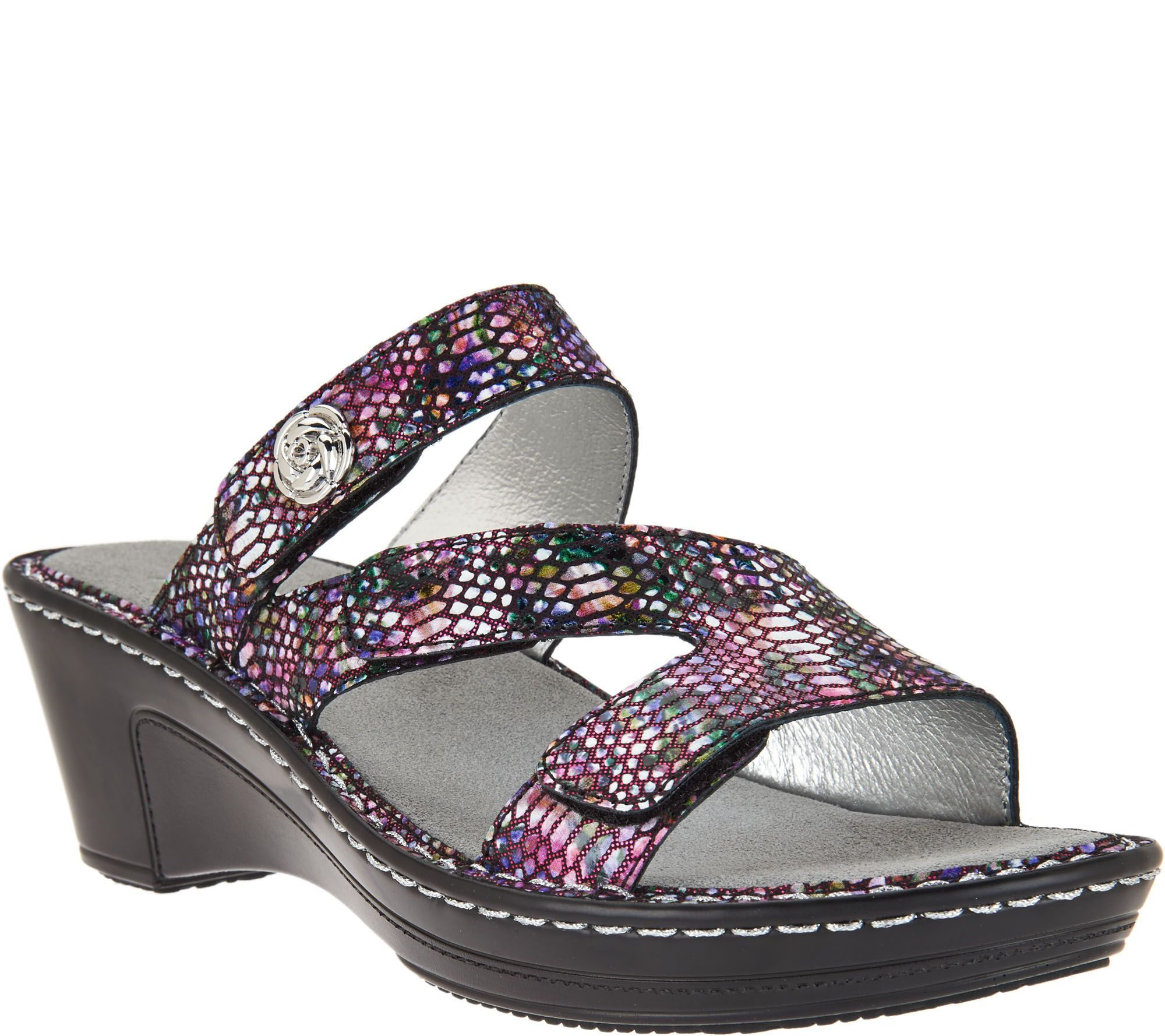 Black sandals belk - Alegria Leather Triple Strap Wedge Sandals Loti A288230