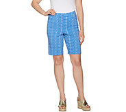 Susan Graver Printed Uptown Stretch Fly Front Bermuda Shorts - A289430