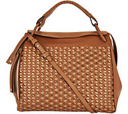 Plinio Visona Italian Woven Leather Satchel - A293830