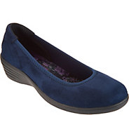 As Is Skechers Suede Simmer Slip-On Wedges - Lounge Around - A304130
