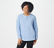Denim & Co. Baby Sherpa Henley Tunic w/ Side Slits - A82230